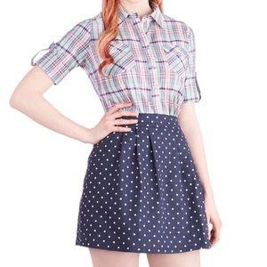 ModCloth chambray denim polka dot mini skirt